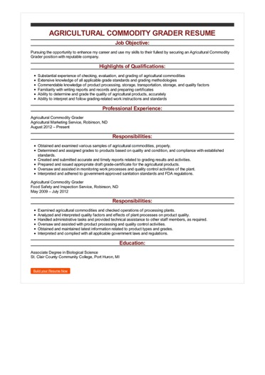 Sample Agricultural Commodity Grader Resume