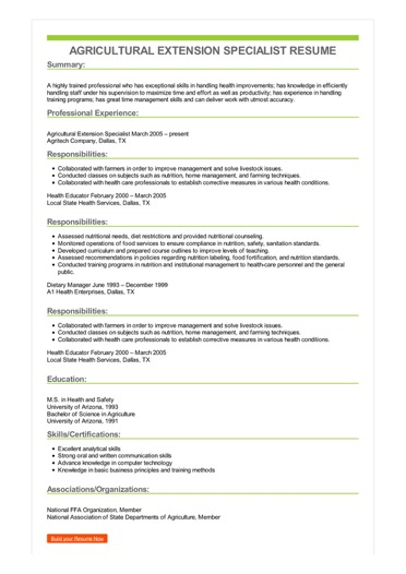 Sample Agricultural Extension Specialist Resume
