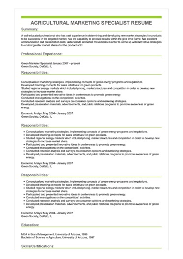 Sample Agricultural Marketing Specialist Resume