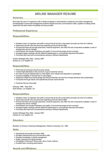 Sample Airline Manager Resume