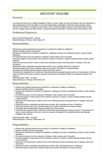 Sample Archivist Resume