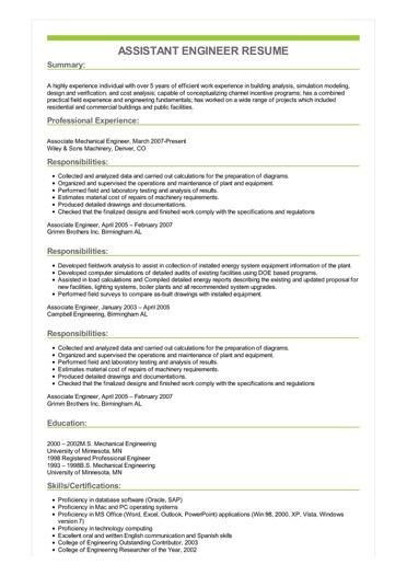 Sample Assistant Engineer Resume