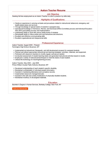 2 Autism Teacher Resume Samples