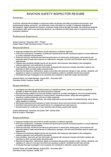 Sample Aviation Safety Inspector Resume