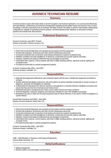 avionics technician resume examples