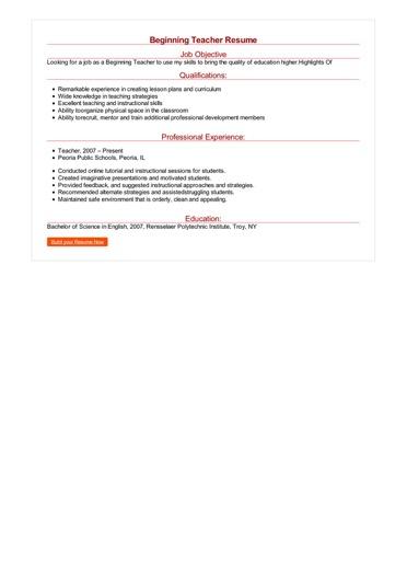 sample objective for resume for teacher