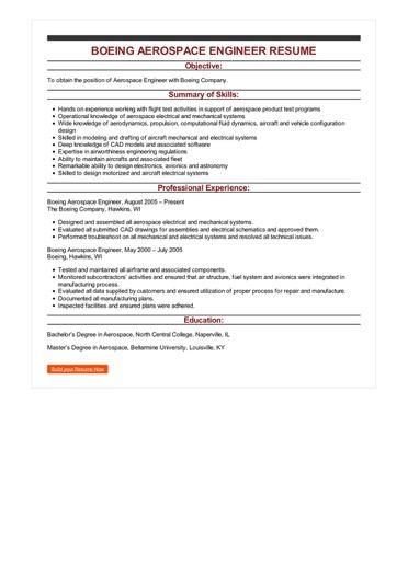 Sample Boeing Aerospace Engineer Resume