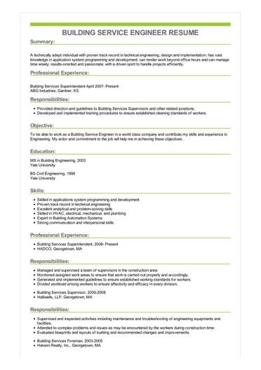 Sample Building Service Engineer Resume