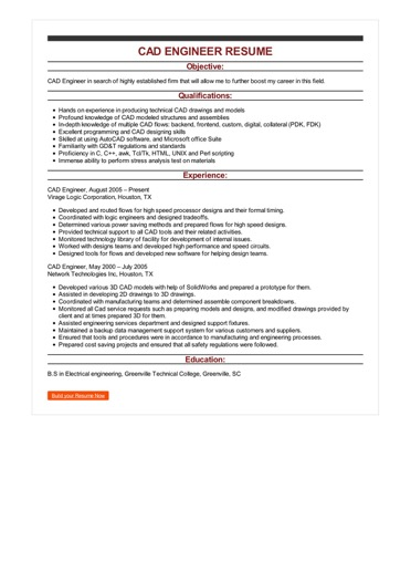 Sample CAD Engineer Resume