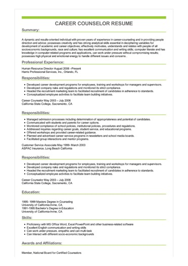Sample Career Counselor Resume