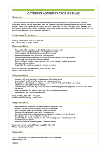 Sample Catering Administrator Resume