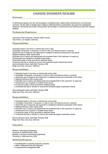 Sample Chassis Engineer Resume