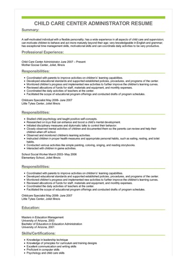 Sample Child Care Center Administrator Resume