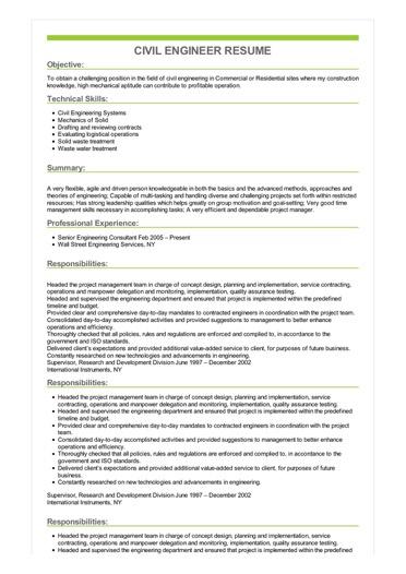 Civil Engineer Resume Great Sample Resume