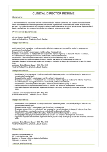 clinical experience resume sample