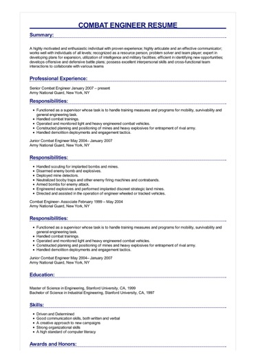 Sample Combat Engineer Resume