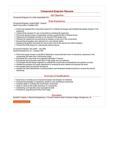 Sample Component Engineer Resume How to Write Component Engineer