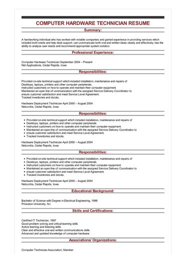 computer program examples for resume