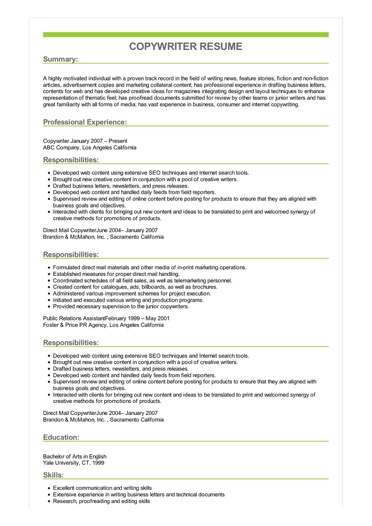 Copywriter Resume Great Sample Resume
