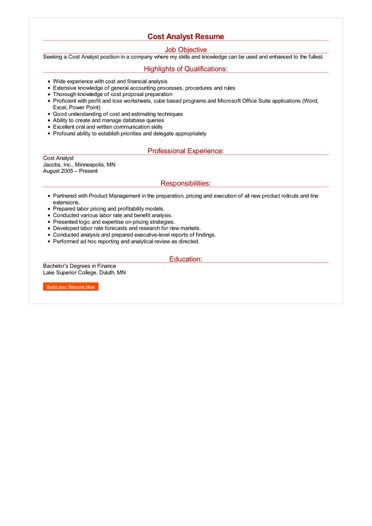 2 Cost Analyst Resume Samples