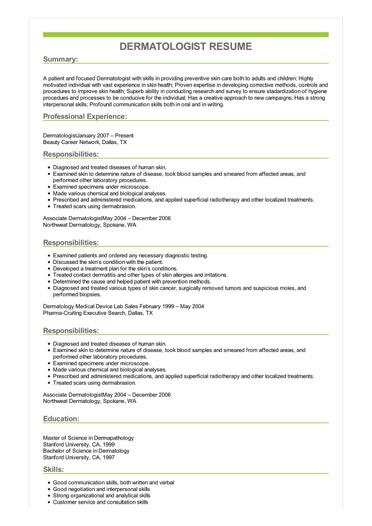 Sample Dermatologist Resume