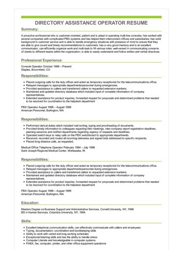 Sample Directory Assistance Operator Resume