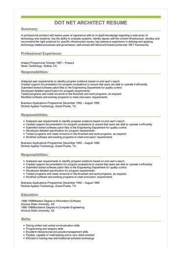 Sample Dot Net Architect Resume