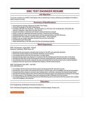 Sample EMC Test Engineer Resume