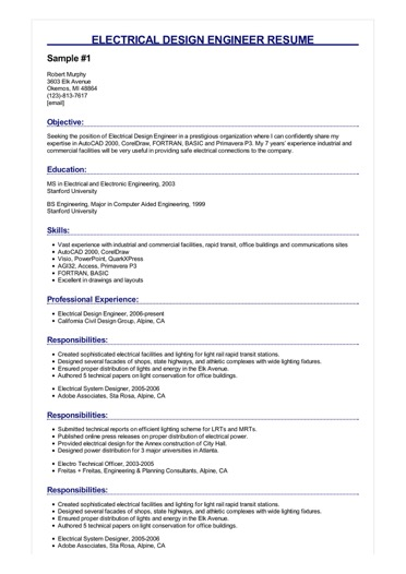 2 Electrical Design Engineer Resume Samples