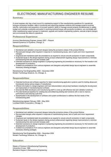 Sample Electronic Manufacturing Engineer Resume