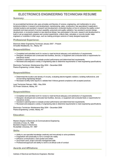 resume objective examples for technical