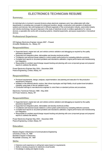 Sample Electronics Technician Resume