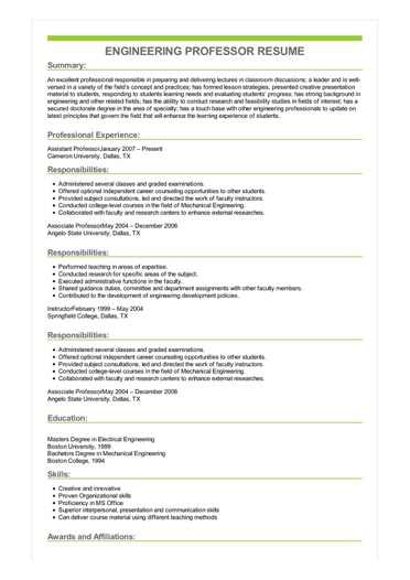 Sample Engineering Professor Resume