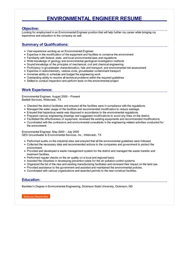 resume environment examples