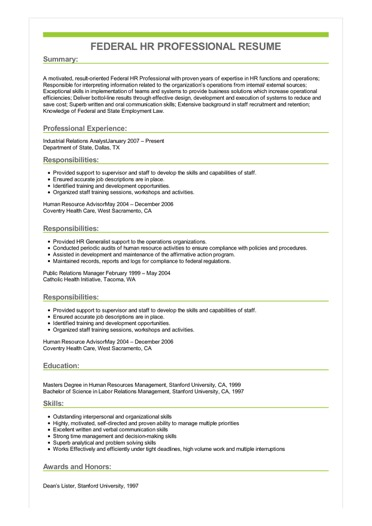 federal human resources resume examples