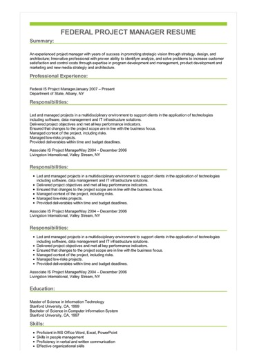 federal project manager resume sample