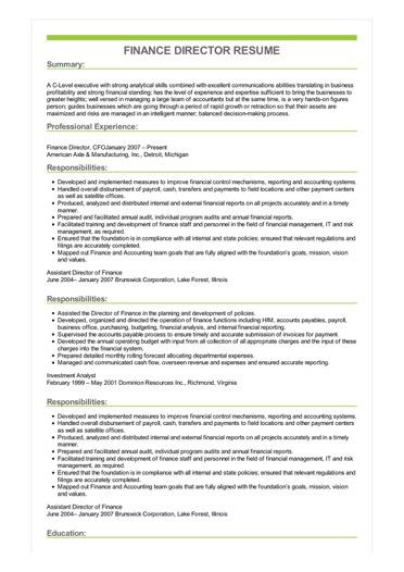 resume examples finance director