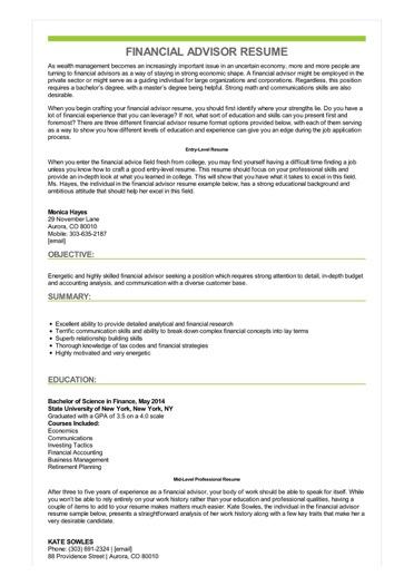 Sample Financial Advisor Resume