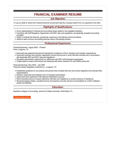 Sample Financial Examiner Resume