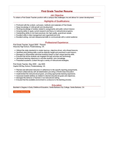 2 First Grade Teacher Resume Samples