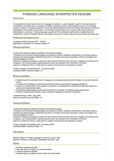 good resume sample examples