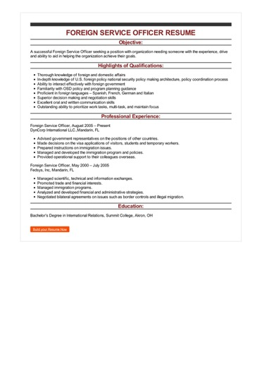 Sample Foreign Service Officer Resume