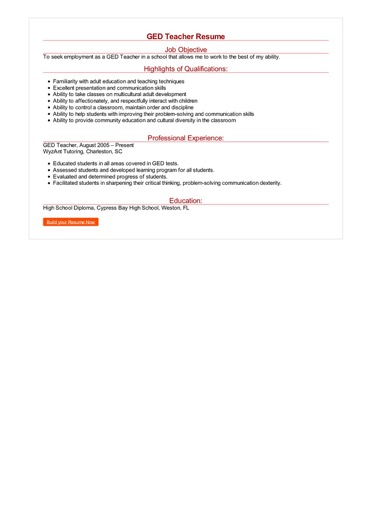 resume with ged sample
