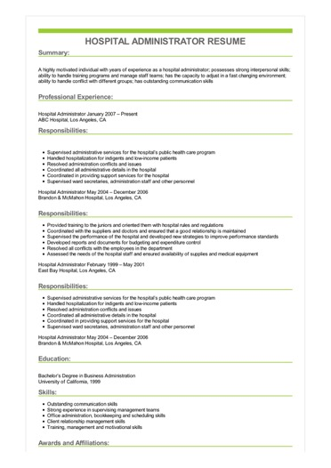 hospital administrator resume sample