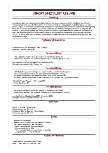 Sample Import Specialist Resume