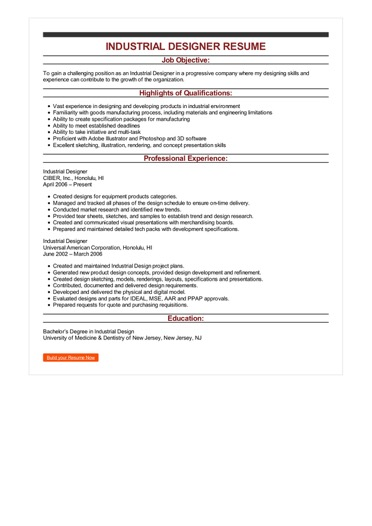 Sample Industrial Designer Resume