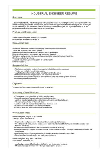 Industrial Engineer Resume Great Sample Resume