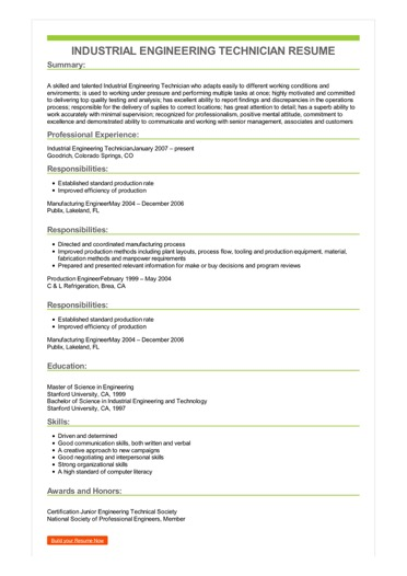 Sample Industrial Engineering Technician Resume