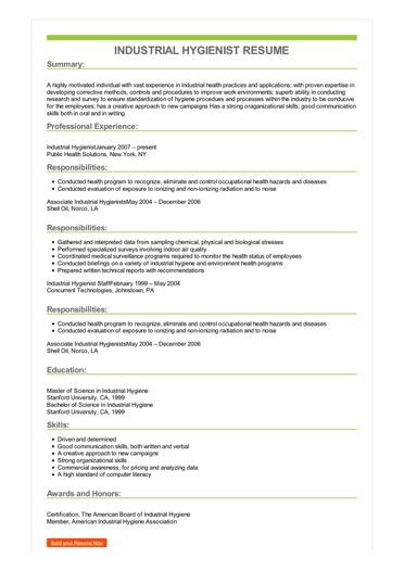 industrial hygiene resume examples