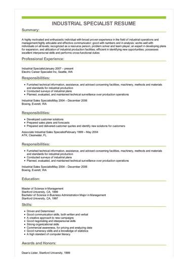 Sample Industrial Specialist Resume